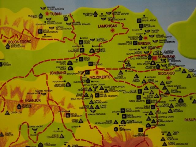 Peta Wisata Kerajaan Majapahit di Trowulan Mojokerto